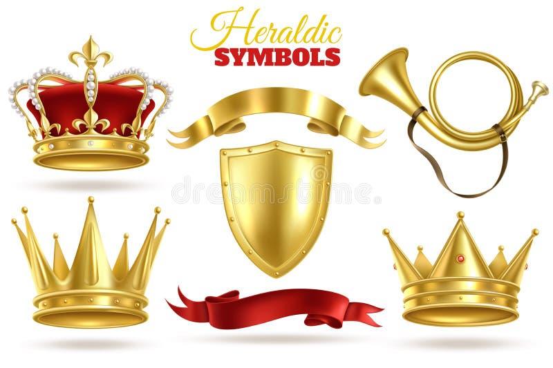 Realistische heraldische symbolen Gouden kronen, koning en koningin gouden diadeem Trompet, schild en linten koninklijke uitsteke stock illustratie