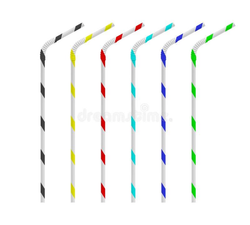 Realistische het drinken stroreeks Rechtstreeks en gebogen plastic cocktailbuis met gekleurde stroken Vectormodel vector illustratie