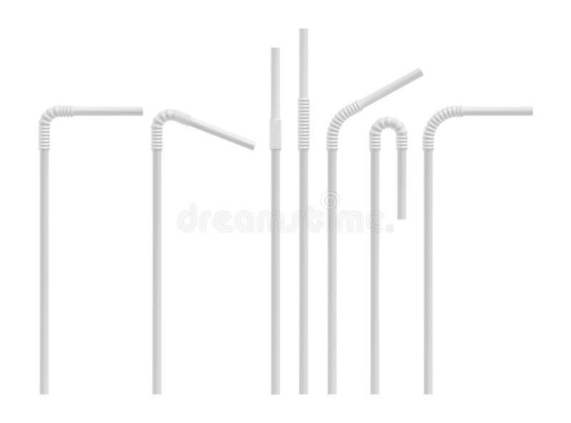 Realistische het drinken stroreeks Rechtstreeks en gebogen plastic cocktailbuis Vectormodel vector illustratie