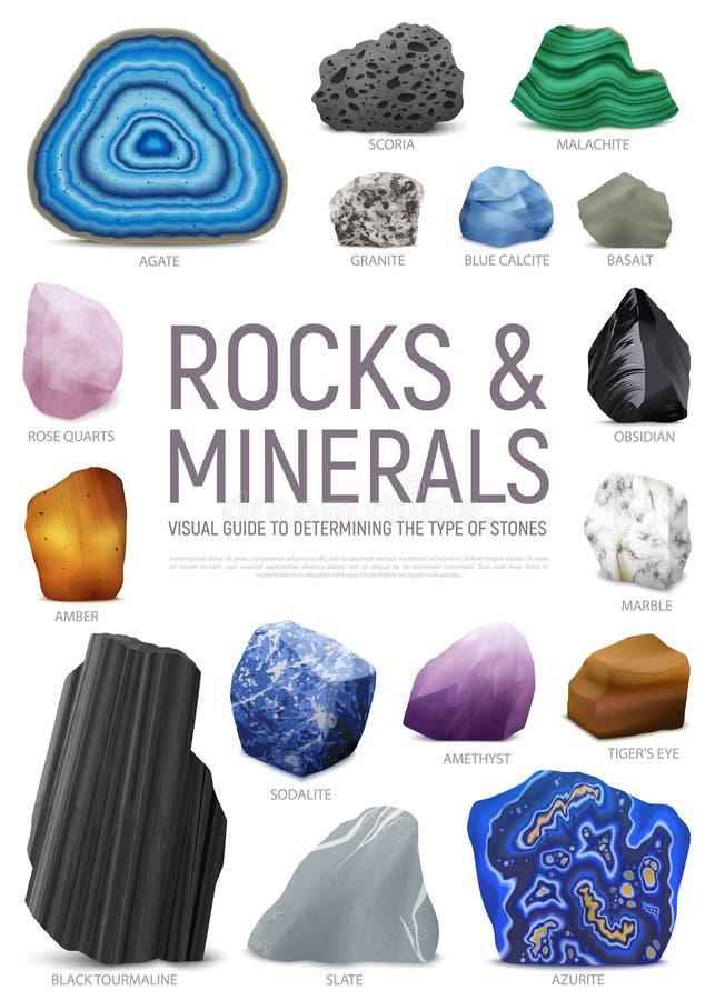 Realistische het Pictogramreeks van de Steen Minerale Visuele Gids vector illustratie