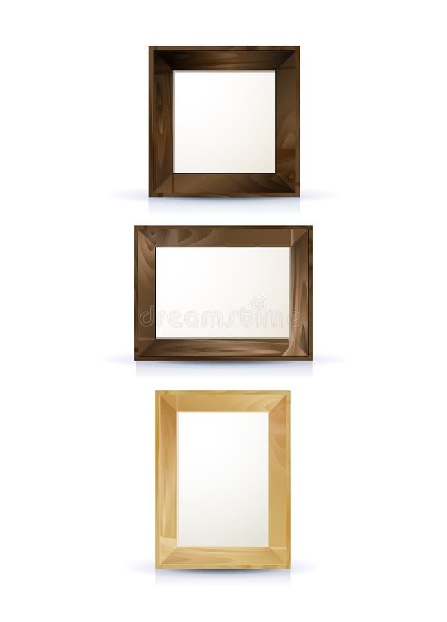 Realistische Holzrahmen lizenzfreie abbildung