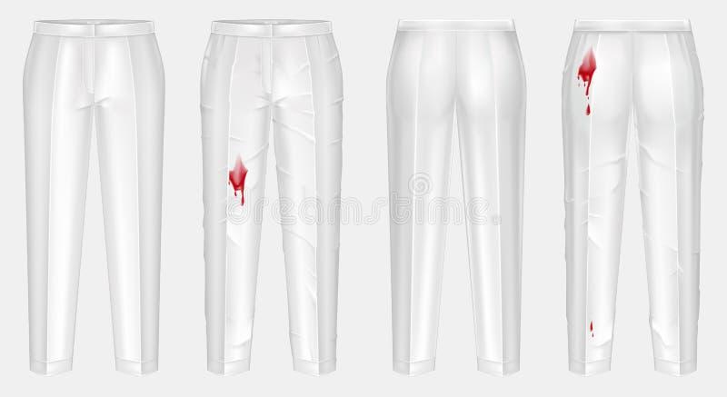 realistische Hosen vor und nach dem Waschen stock abbildung