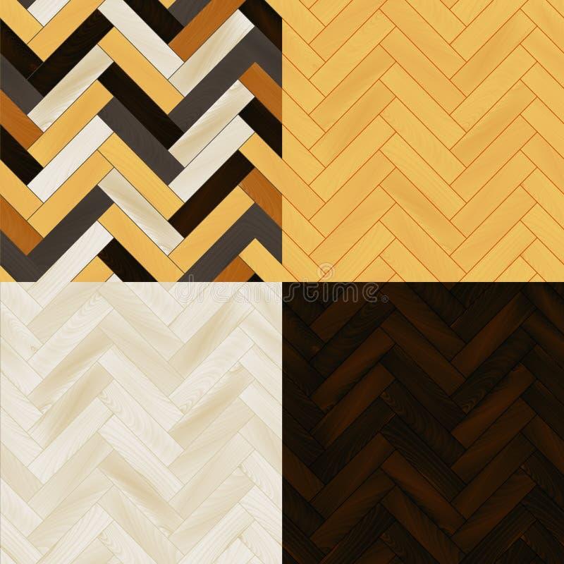 Realistische houten geplaatste het parket naadloze patronen van de vloervisgraat, vector stock illustratie