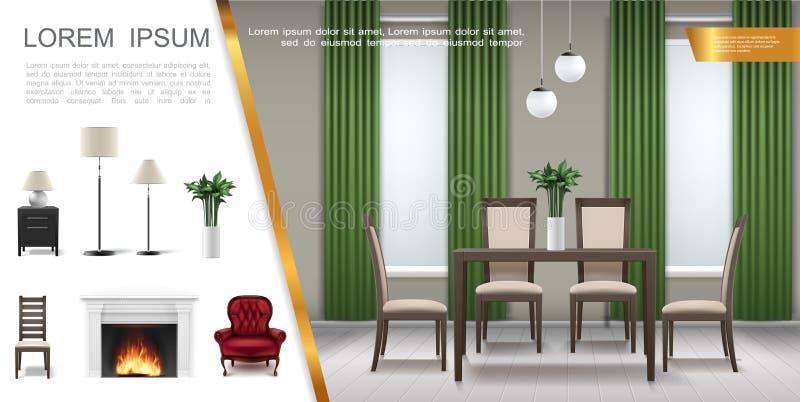 Realistische Huis Binnenlandse Samenstelling royalty-vrije illustratie