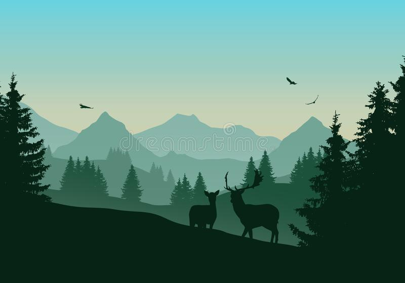 Realistische illustratie van berglandschap met groene conifero royalty-vrije illustratie