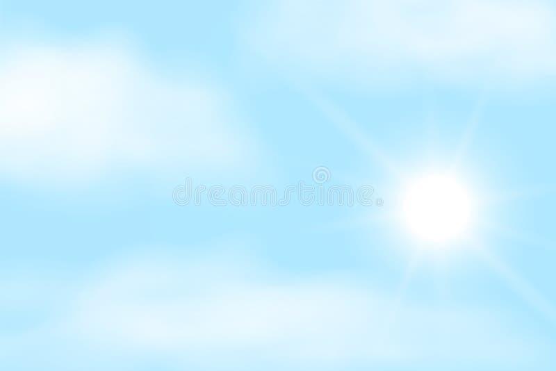 Realistische illustratie van blauwe hemel met witte wolken en ruimte voor tekst Glanzende zon met zonnestraal, vector vector illustratie