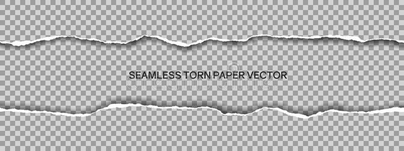 Realistische illustratie van breed naadloos gescheurd die document met ruimte voor tekst op transparante achtergrond, vector word vector illustratie