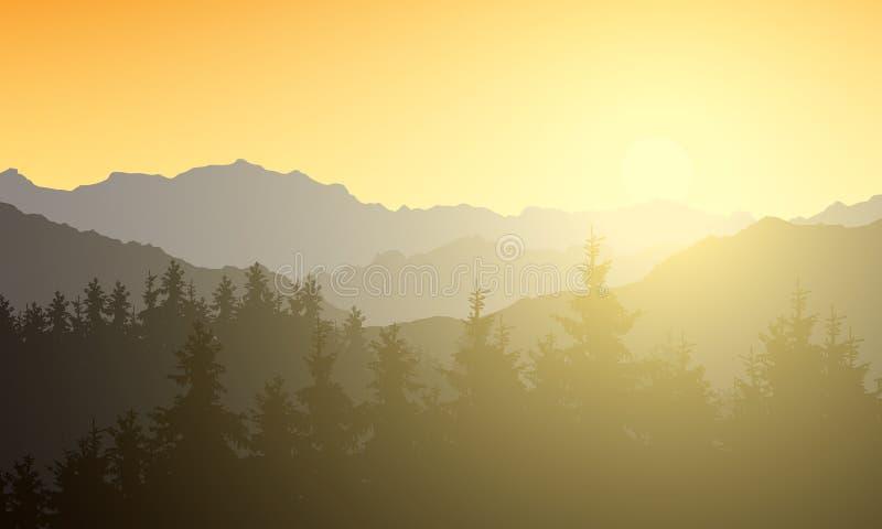 Realistische illustratie van een berglandschap met een boszon die met zonneschijn en stralen onder de geeloranje ochtend glanzen stock illustratie