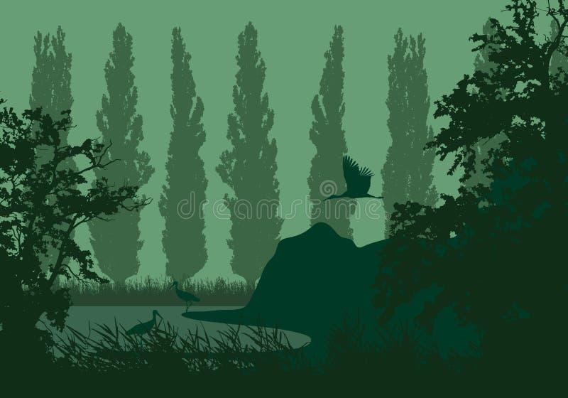 Realistische illustratie van een landschap van het moerasland met een meer of een rivier, riet en populieren op de kust Drie ooie royalty-vrije illustratie