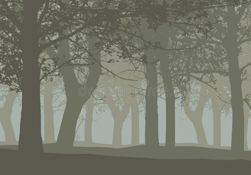 Realistische illustratie van een vergankelijk diep bos met bomen en vector illustratie