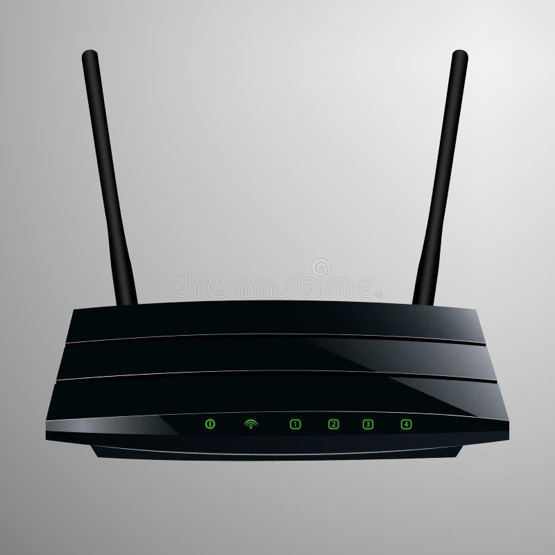 Realistische illustratie van een zwarte router in een glad modern ontwerp stock illustratie