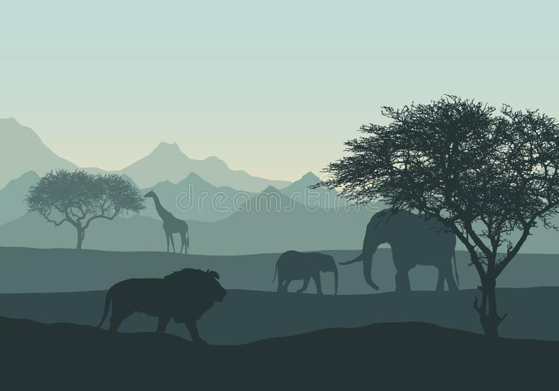 Realistische illustratie van het afrikaanse landschap en de safari in de bergen met dieren en bomen Elephant met kubieke, leeuw e royalty-vrije illustratie