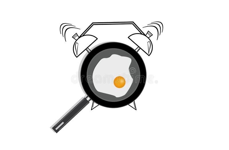 Realistische illustratie van pan met gebraden ei en hand getrokken die wekker op witte achtergrond wordt geïsoleerd Hoogste menin stock illustratie