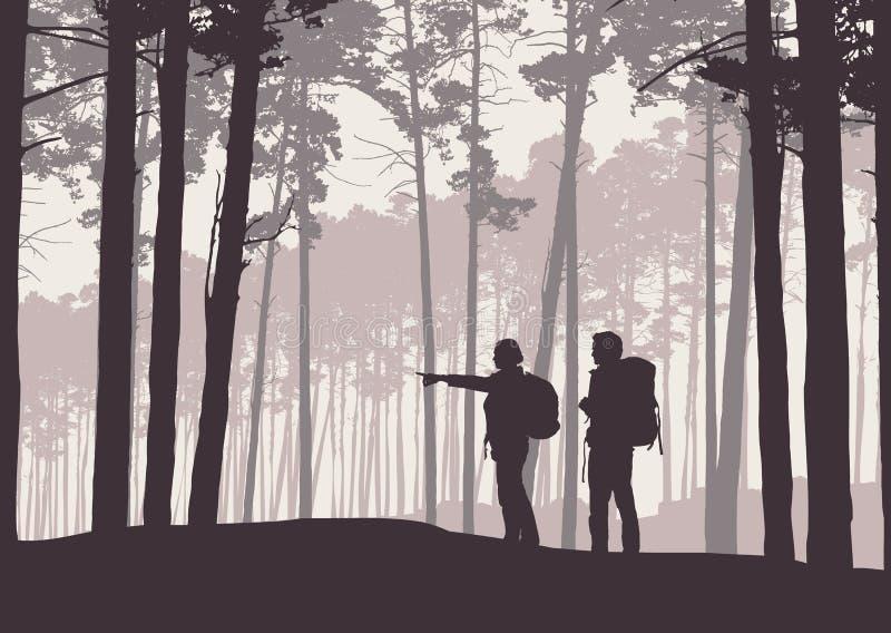 Realistische illustratie van retro landschapssilhouetten met bos en naaldbomen Twee wandelaars, man en vrouw met rugzakken stock illustratie