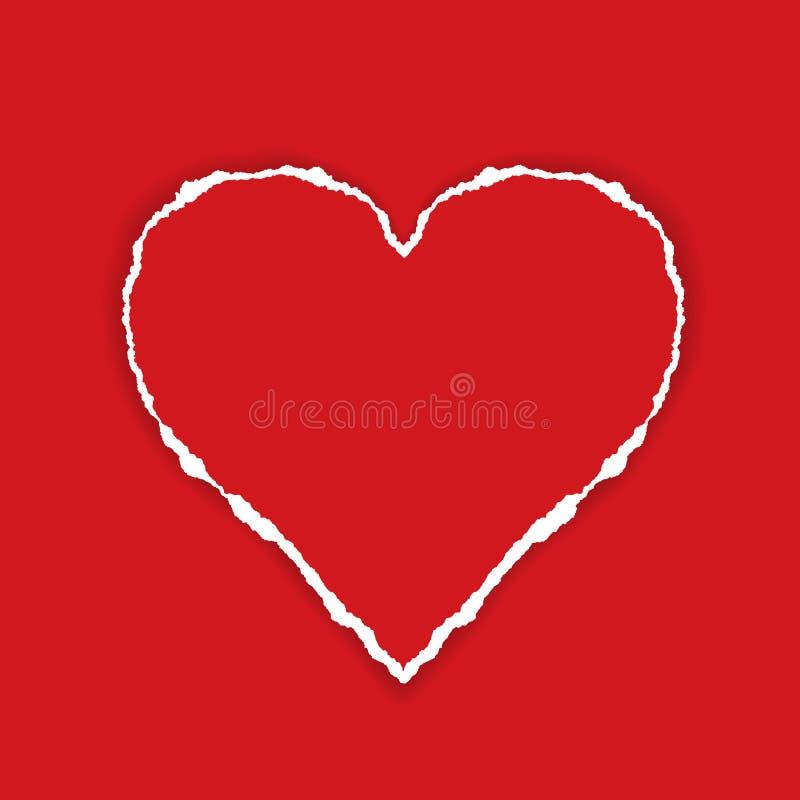 Realistische illustratie van rood Gescheurd document in de vorm van een hart met schaduw, nuttig als groetkaart voor Valentine, v vector illustratie