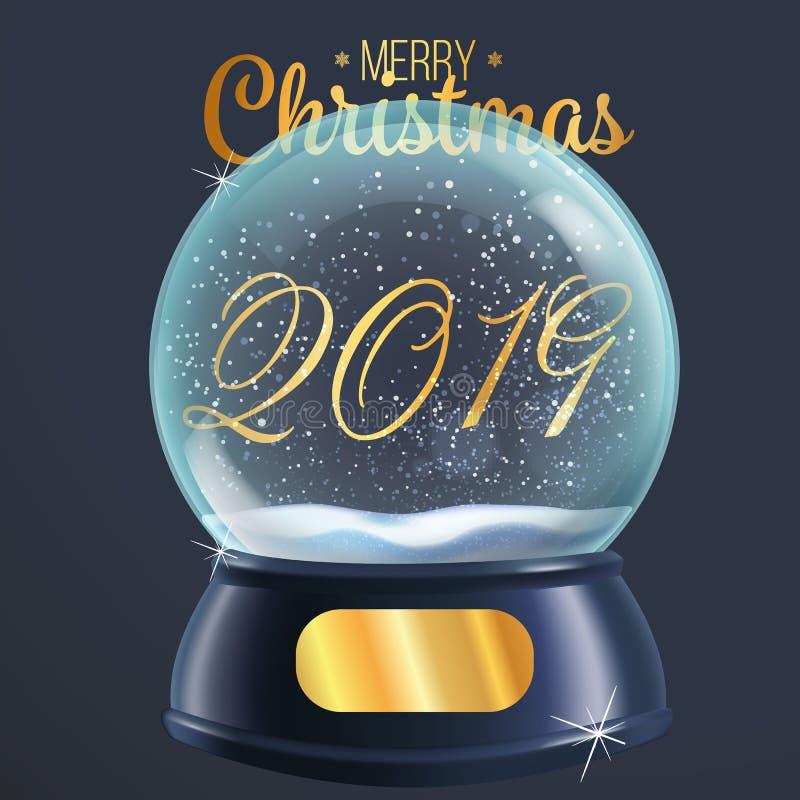 realistische Illustration 2019 Ball Vektors der Schneekugel lokalisiert auf grauem Hintergrund vektor abbildung