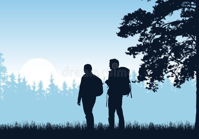 Realistische Illustration der Stellung zwei Tourist, Mann und Frau mit Rucksack, Gras und hohem Baum Wald unter blauem Himmel mit stock abbildung