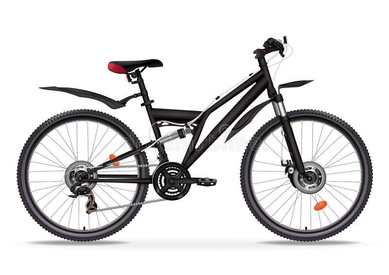 Realistische Illustration des Fahrradvektors Schwarzes metallisches Fahrradhalbgesicht mit vielen mehrfachen Details lokalisiert  lizenzfreie abbildung