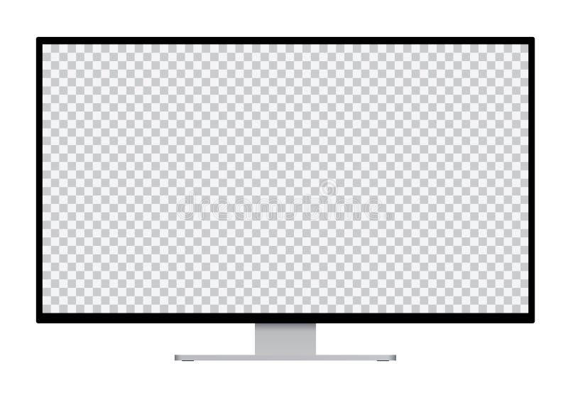 Realistische Illustration des schwarzen Computermonitors mit silbernem transparentem lokalisiertem Schirm des Stands und des frei vektor abbildung