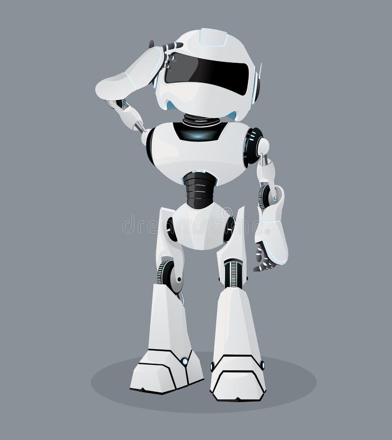 Realistische Illustration des Vektors des weißen Roboters Verkratzen seines Kopfes Konfuser Roboter vektor abbildung
