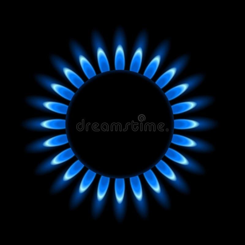 Realistische Illustration eines Kreisgasbrenners mit blauer Flamme schwarzer Hintergrund - Vektor stock abbildung