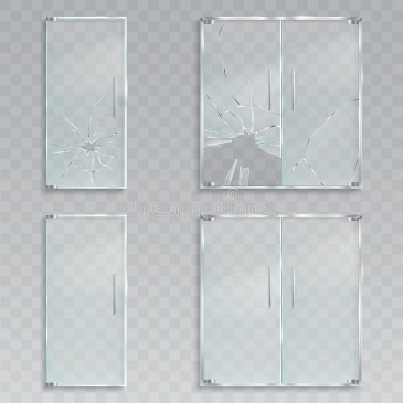 Realistische Illustrationen des Vektors eines Plans der Glastüren eines Eingangs mit Metall behandelt unversehrtes und defektes G vektor abbildung