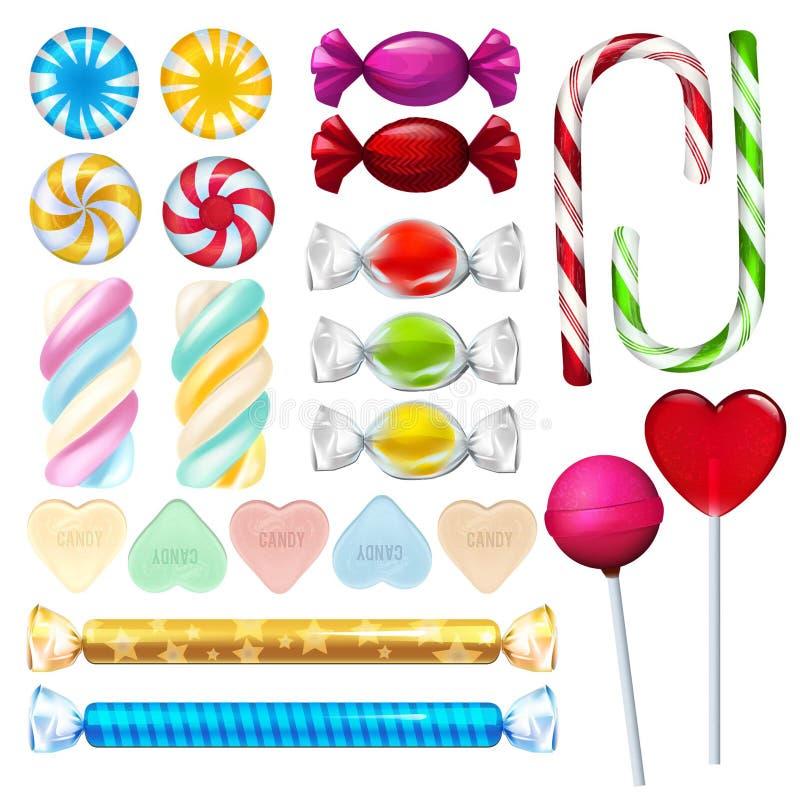 Realistische Illustrationen des Vektors von Bonbons und von Süßigkeit lizenzfreie abbildung