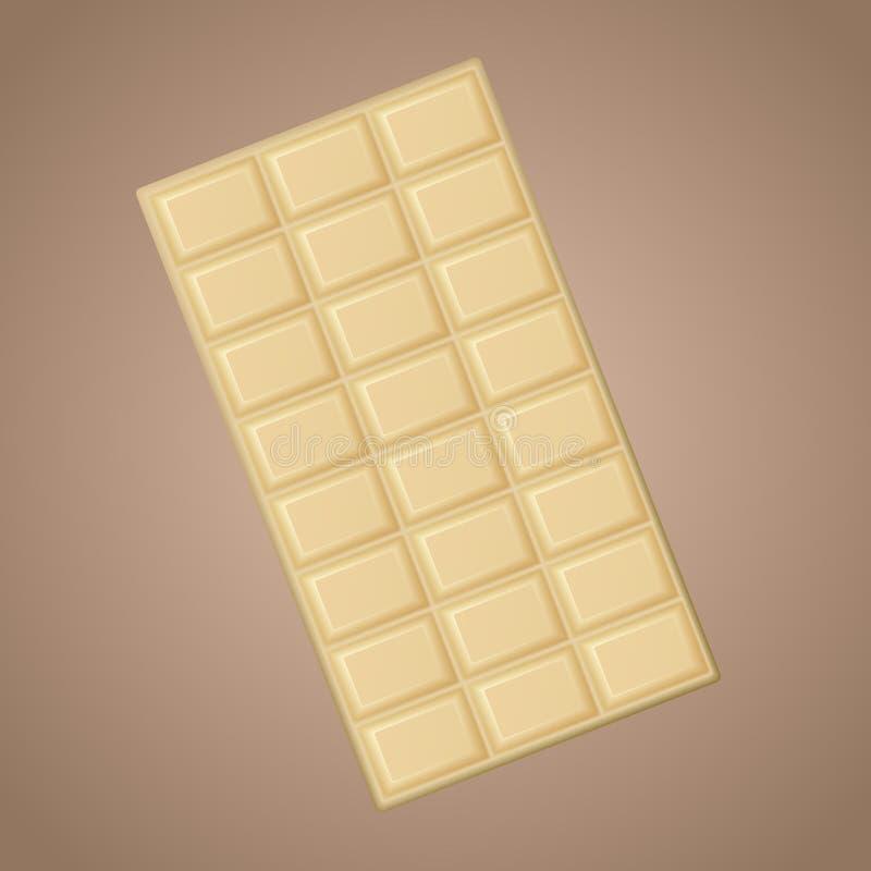 Realistische köstliche weiße Schokolade des Vektors lokalisiert auf braunem Hintergrund stock abbildung