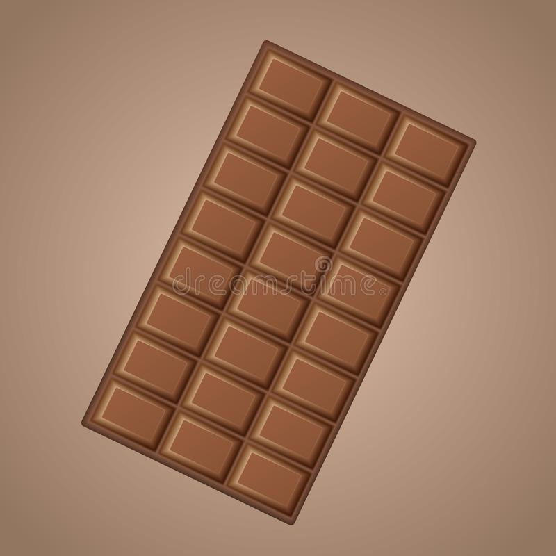 Realistische köstliche Milchschokolade des Vektors lokalisiert auf braunem Hintergrund stock abbildung