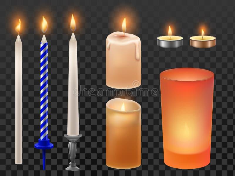 Realistische kaars Kerstmisvakantie of verjaardagskaarsen, trillings vlammende was en romantische brandvlam kaarslicht vector illustratie