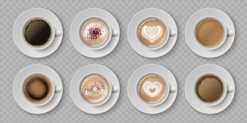 Realistische Kaffeetasse Top Ansicht der Milchcremes in Tasse mit Espresso Cappuccino oder Latte, 3D isolierte Cafe-Umarmungen Ve stock abbildung
