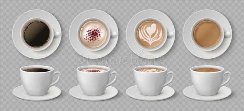 Realistische Kaffeetassen Espresso latte und Cappuccino warme Getränke, 3D-Mockup-Vorder- und Top-Ansichten Vector Kaffeekanne stock abbildung