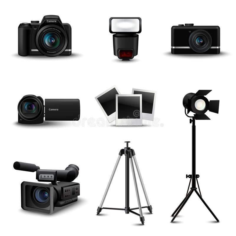 Realistische Kamera-Ikonen vektor abbildung