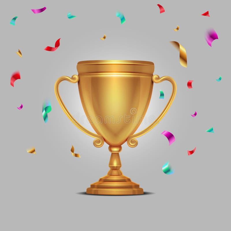 Realistische kampioenschaps gouden kop met de dalende vectorillustratie van confettienstukken vector illustratie