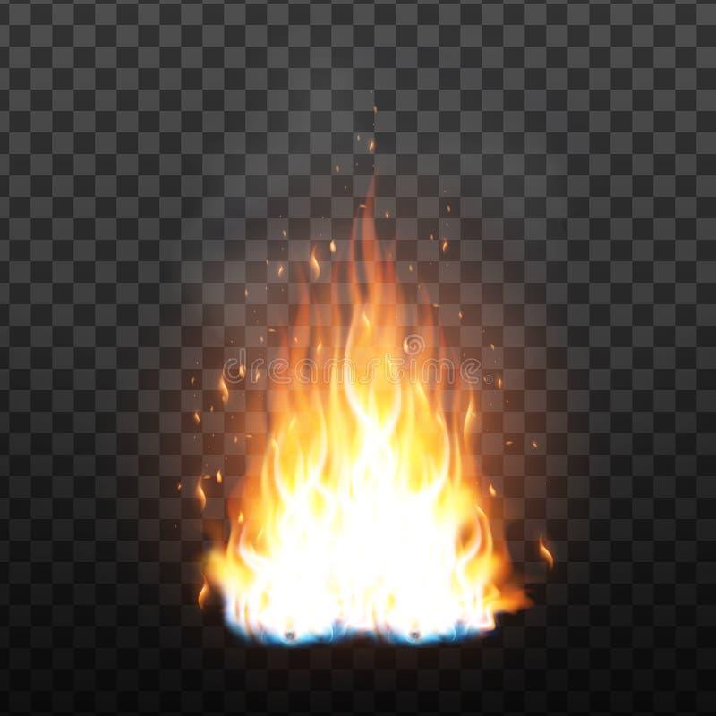 Realistische Kampvuurvlam met Vonkeneffect Vector vector illustratie