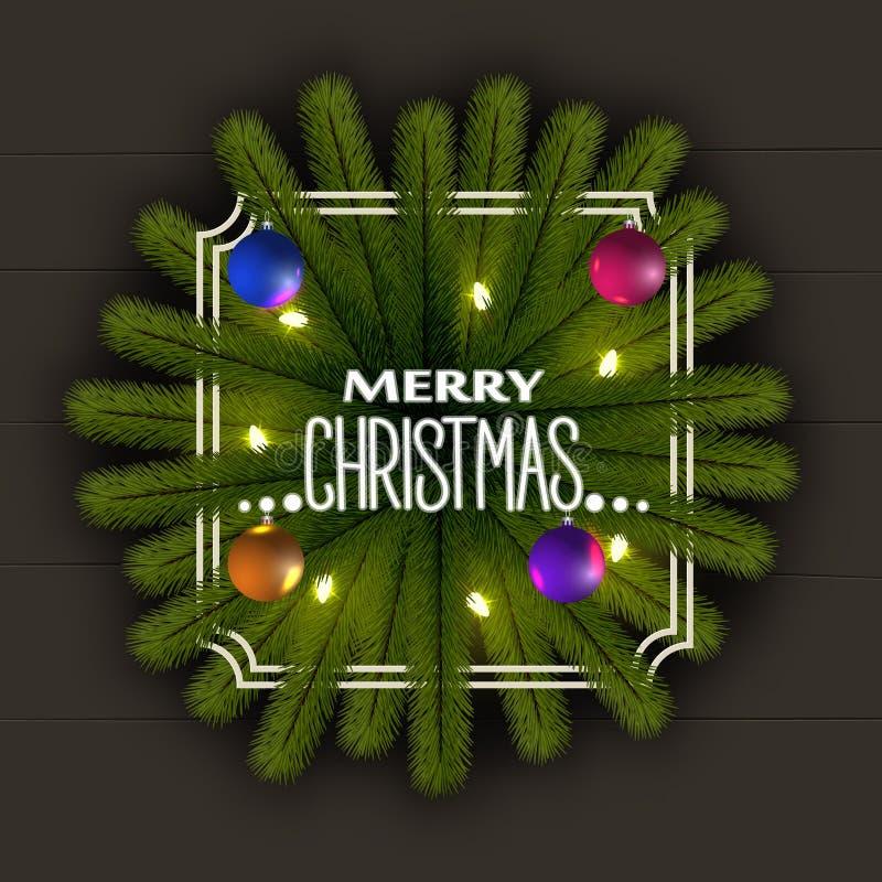Realistische Kerstmisachtergrond Frame van de takken van de Kerstmisboom Met een slinger van lichten en glanzende ballen royalty-vrije illustratie
