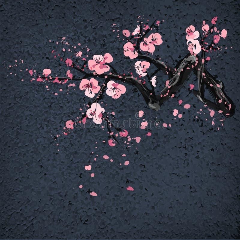 Realistische Kirschblüte-Blüte auf grang Hintergrund vektor abbildung