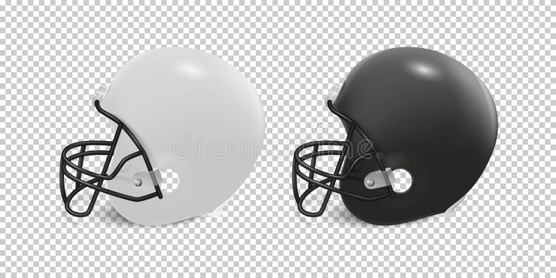 Realistische klassieke Amerikaanse geplaatste voetbalhelm - zwart-witte kleur op transparante achtergrond Zachte nadruk vector illustratie