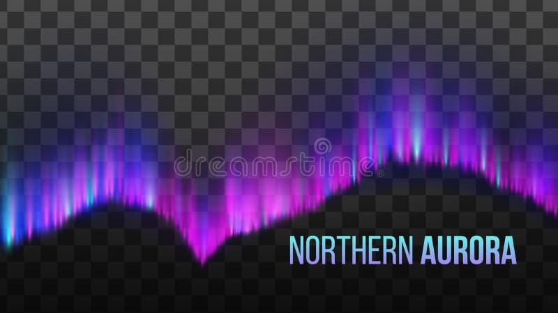 Realistische Kleurrijke Noordelijke Aurora Light Vector royalty-vrije illustratie