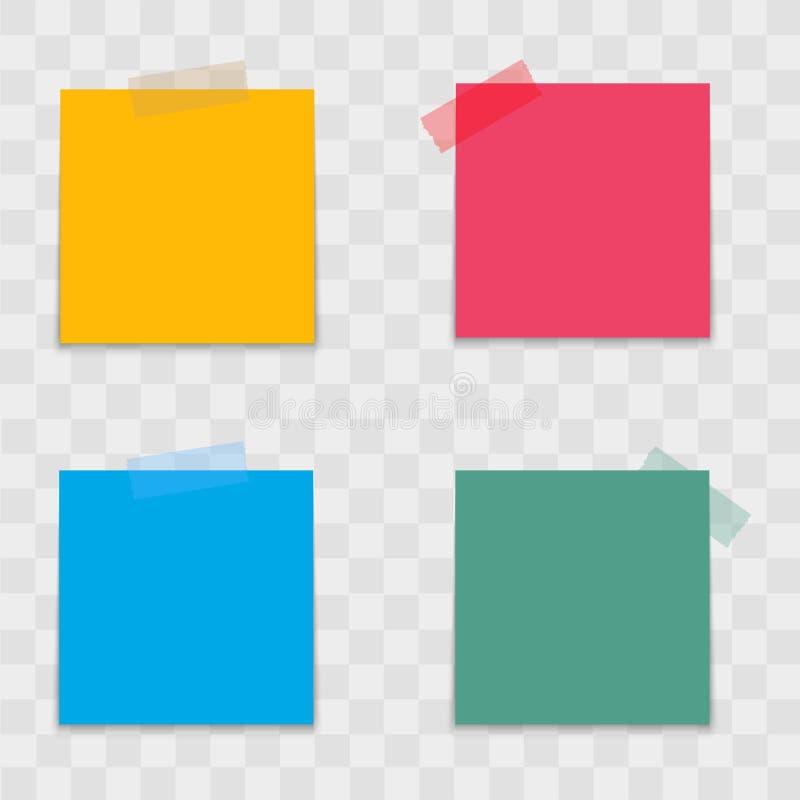 Realistische kleurrijke notadocumenten op kleverige band Vector stock illustratie