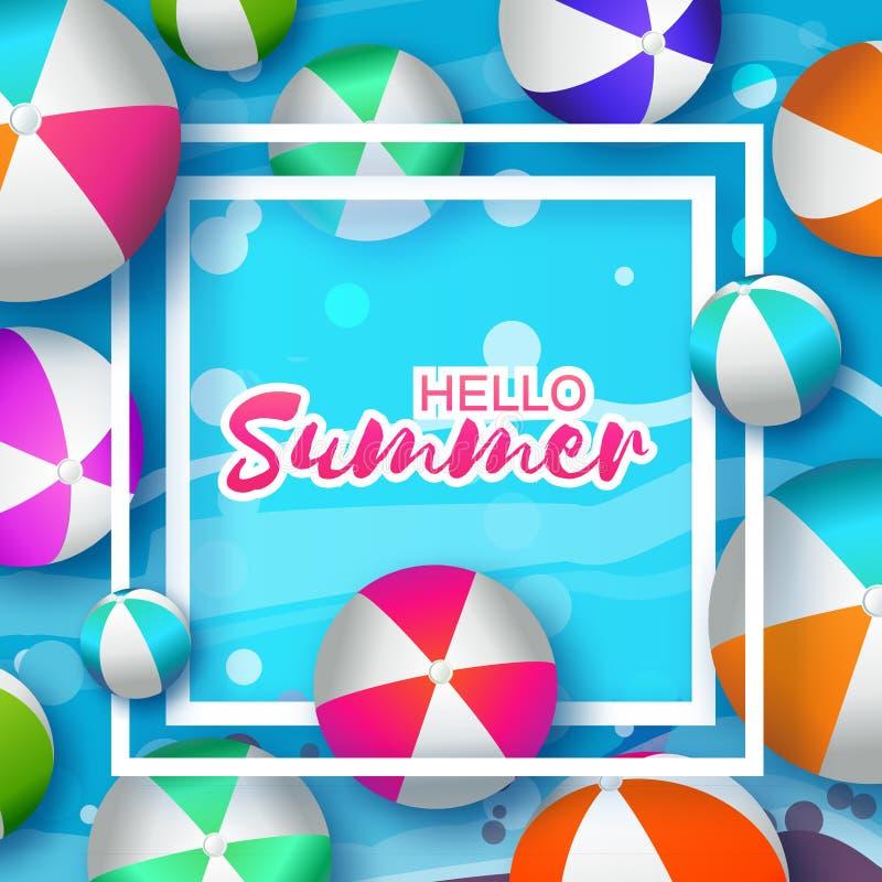 Realistische Kleurrijke Strandballen Hello-de zomer vector illustratie