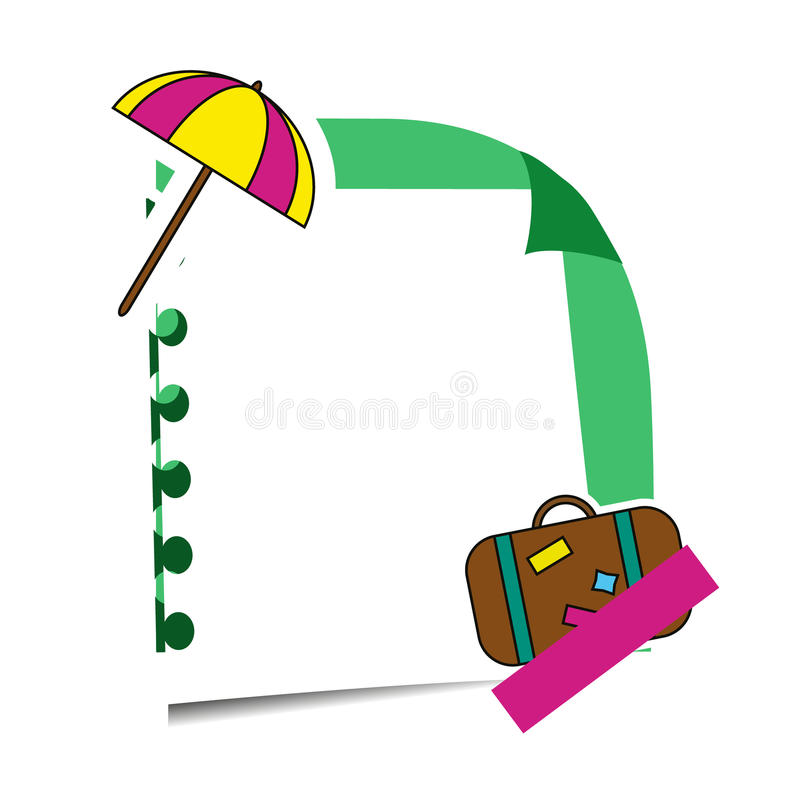 Realistische kleverige nota met de stickers van de de zomervakantie Document herinnering het hangen met kleefstof en reisetikette vector illustratie