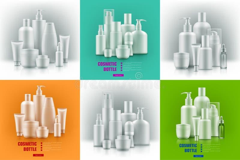 Realistische kosmetische containers vector illustratie