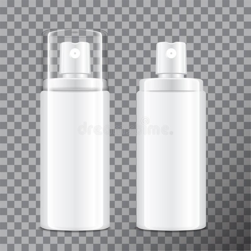 Realistische kosmetische nevelfles Automaat voor room, balsem en andere schoonheidsmiddelen Met deksel en zonder Vector Malplaatj royalty-vrije illustratie