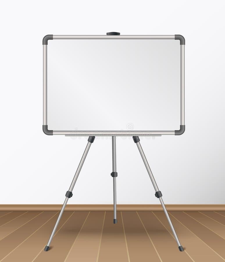 Realistische leere whiteboard Stellung auf Stativ im Raum mit Bretterbodenvektorillustration stock abbildung