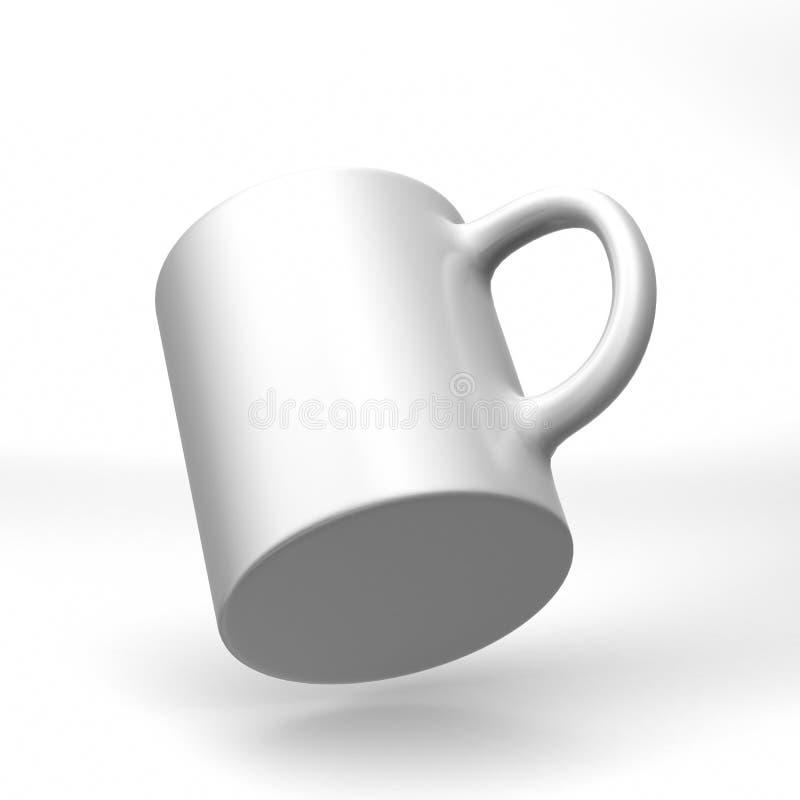 Realistische lege ceramische witte die koffiekop en mok op witte achtergrond wordt geïsoleerd Het malplaatje van het ontwerp 3d g royalty-vrije illustratie