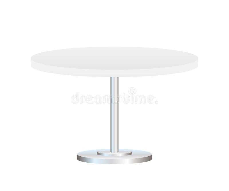 Realistische lege die rondetafel met metaaltribune op witte achtergrond wordt geïsoleerd Vector voorraadillustratie stock illustratie