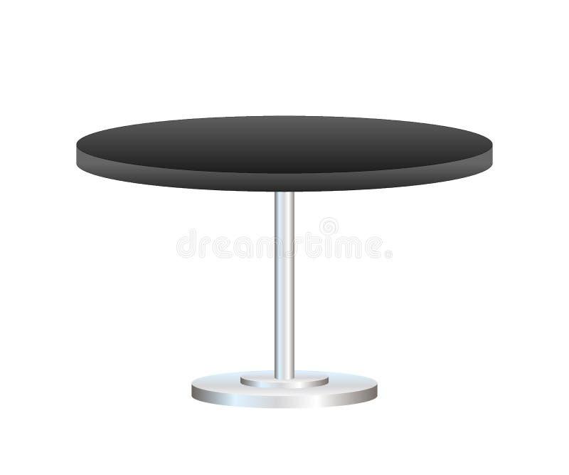 Realistische lege rondetafel met metaaltribune die op witte achtergrond wordt geïsoleerd Vector voorraadillustratie stock illustratie