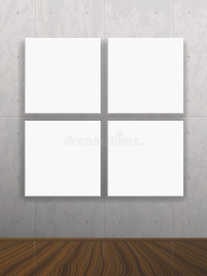 Realistische lege spot op affiche op concrete muur vector illustratie