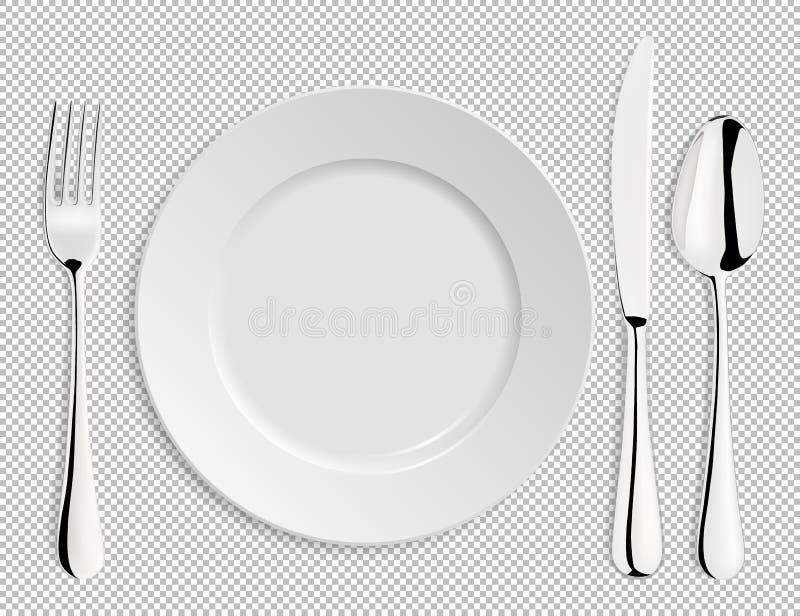 Realistische lege vectorplaat met geïsoleerde lepel, mes en vork Ontwerpmalplaatje in EPS10 vector illustratie